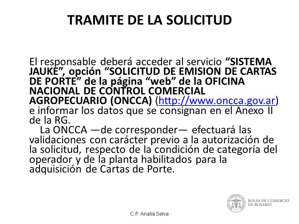 TRAMITE DE LA SOLICITUD