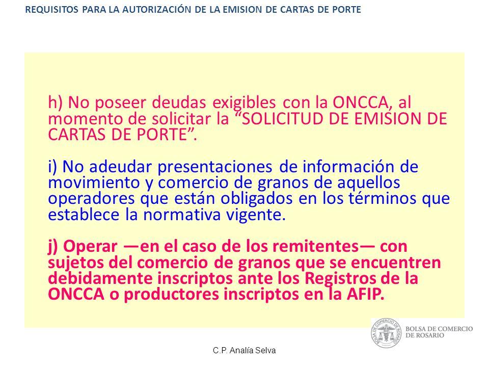 REQUISITOS PARA LA AUTORIZACIÓN DE LA EMISION DE CARTAS DE PORTE