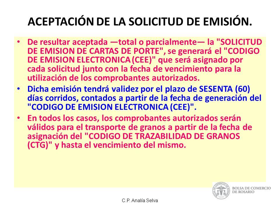 ACEPTACIÓN DE LA SOLICITUD DE EMISIÓN.