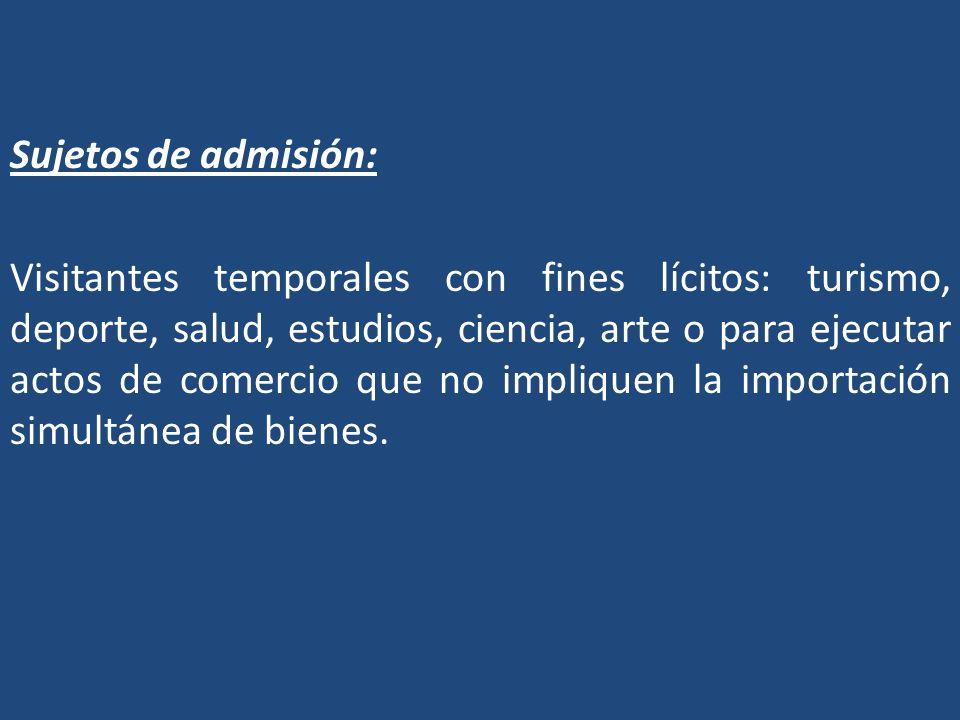 Sujetos de admisión: