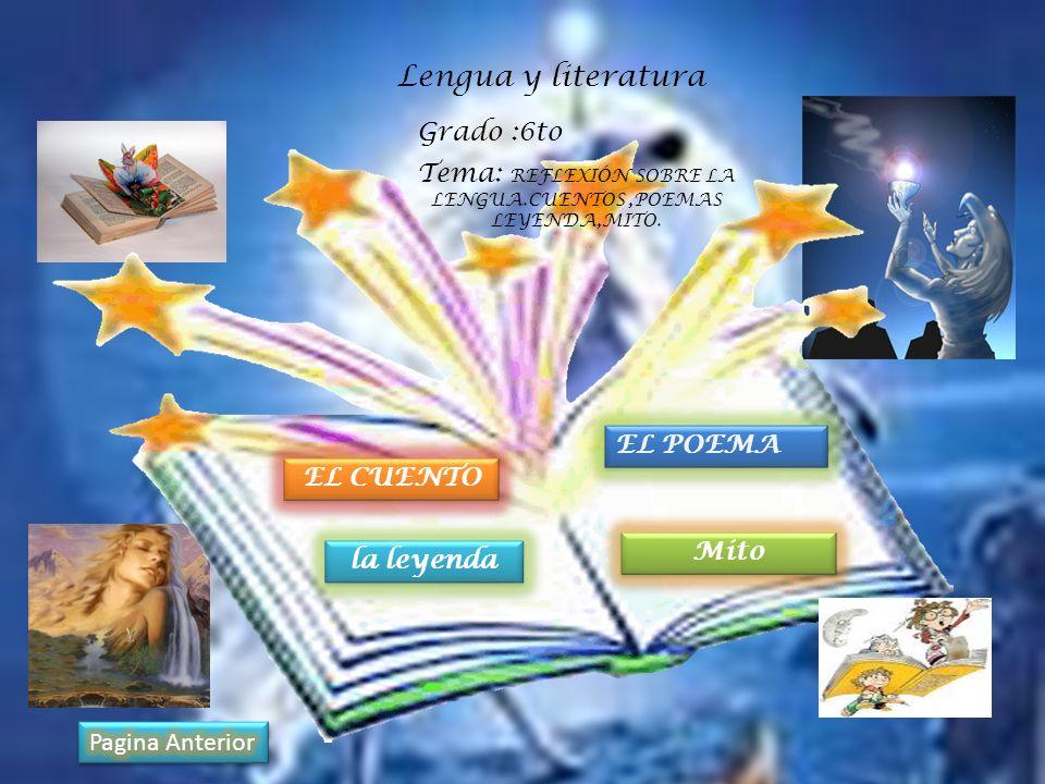 Tema: REFLEXIÓN SOBRE LA LENGUA.CUENTOS ,POEMAS LEYENDA,MITO.