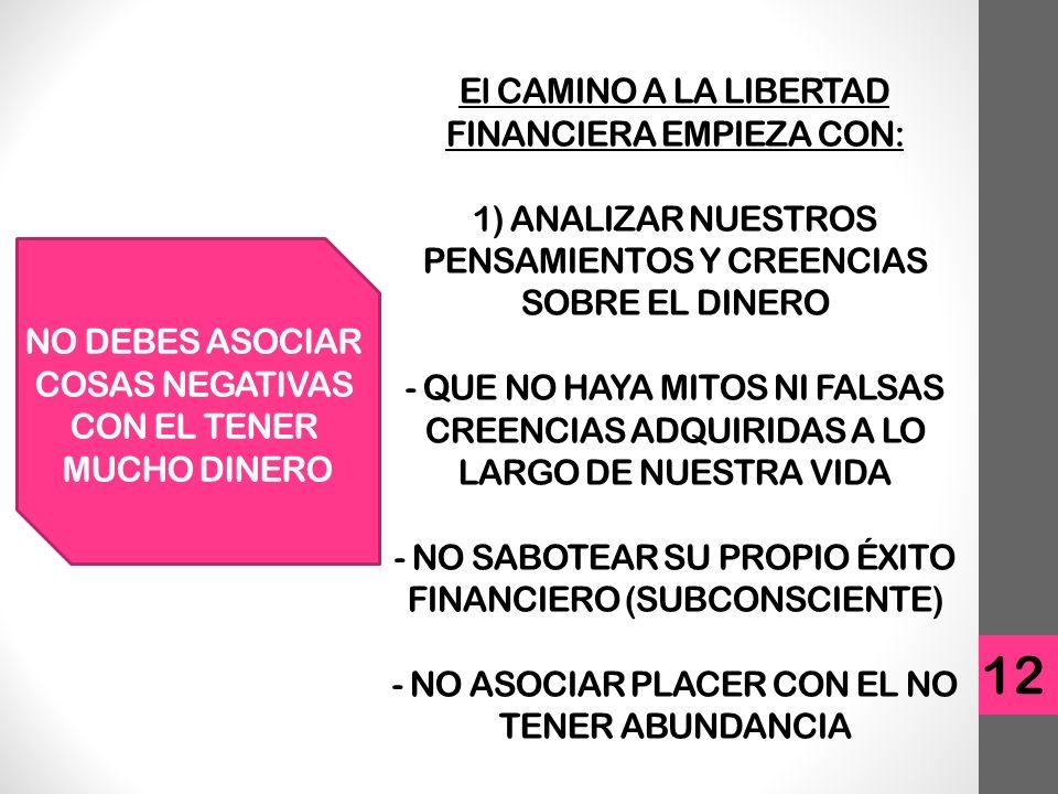 El CAMINO A LA LIBERTAD FINANCIERA EMPIEZA CON: 1) ANALIZAR NUESTROS PENSAMIENTOS Y CREENCIAS SOBRE EL DINERO - QUE NO HAYA MITOS NI FALSAS CREENCIAS ADQUIRIDAS A LO LARGO DE NUESTRA VIDA - NO SABOTEAR SU PROPIO ÉXITO FINANCIERO (SUBCONSCIENTE) - NO ASOCIAR PLACER CON EL NO TENER ABUNDANCIA