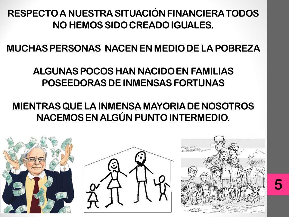 RESPECTO A NUESTRA SITUACIÓN FINANCIERA TODOS NO HEMOS SIDO CREADO IGUALES. MUCHAS PERSONAS NACEN EN MEDIO DE LA POBREZA ALGUNAS POCOS HAN NACIDO EN FAMILIAS POSEEDORAS DE INMENSAS FORTUNAS MIENTRAS QUE LA INMENSA MAYORIA DE NOSOTROS NACEMOS EN ALGÚN PUNTO INTERMEDIO.