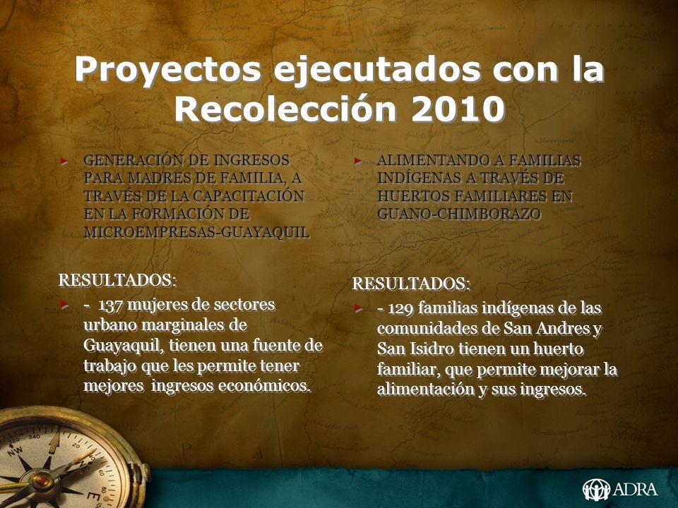 Proyectos ejecutados con la Recolección 2010