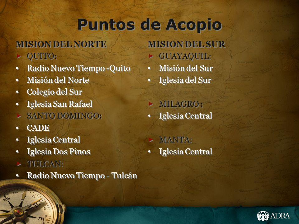 Puntos de Acopio MISION DEL NORTE QUITO: Radio Nuevo Tiempo -Quito