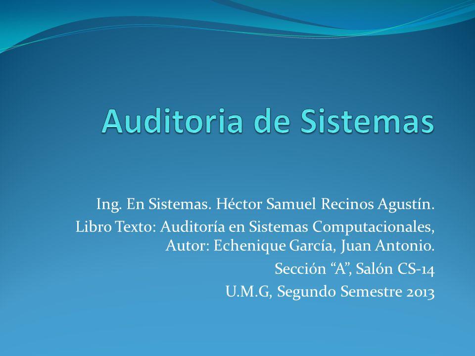 Auditoria de Sistemas Ing. En Sistemas. Héctor Samuel Recinos Agustín.