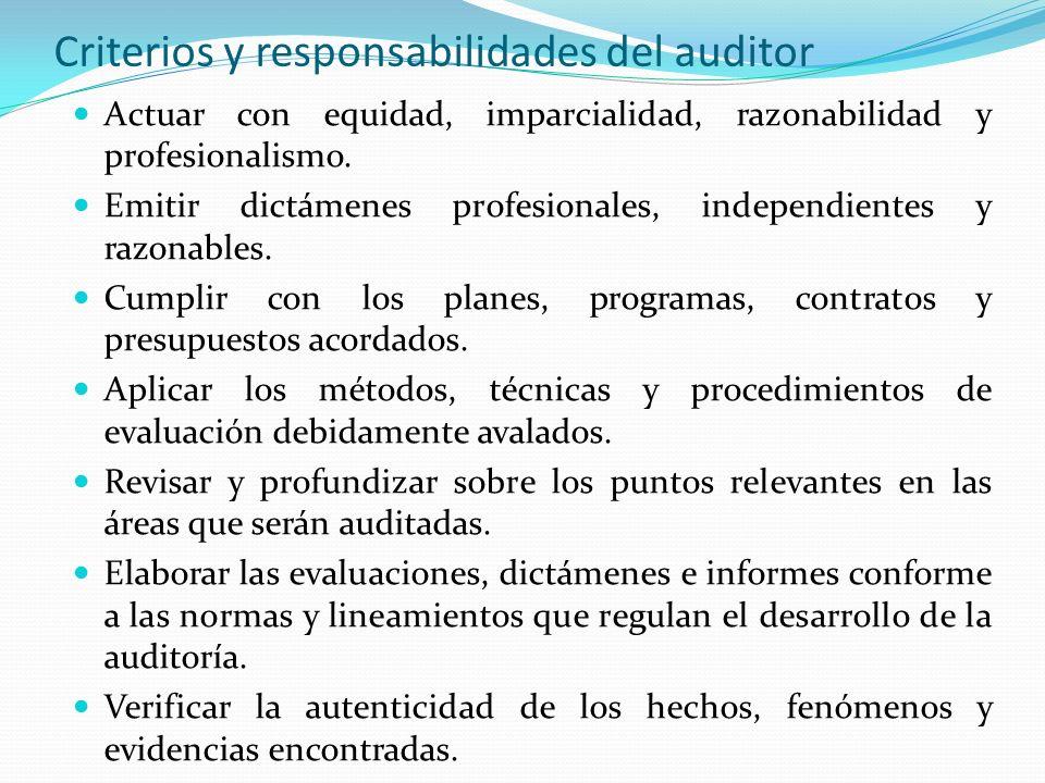Criterios y responsabilidades del auditor