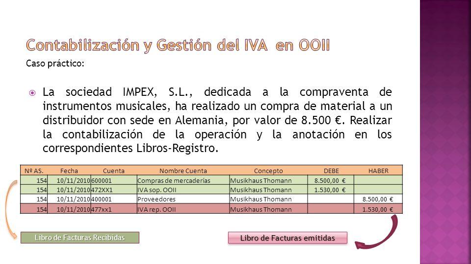 Contabilización y Gestión del IVA en OOII
