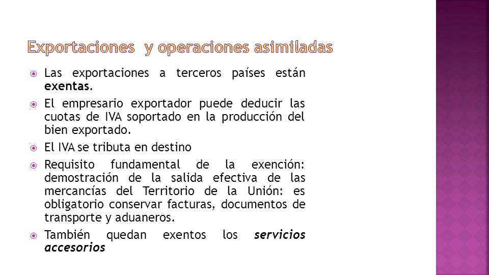 Exportaciones y operaciones asimiladas