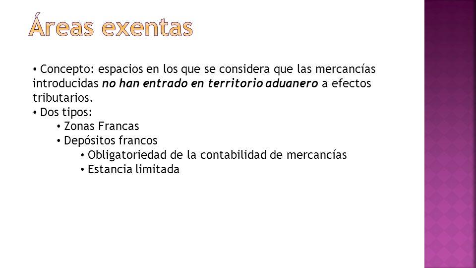 Áreas exentas Concepto: espacios en los que se considera que las mercancías introducidas no han entrado en territorio aduanero a efectos tributarios.