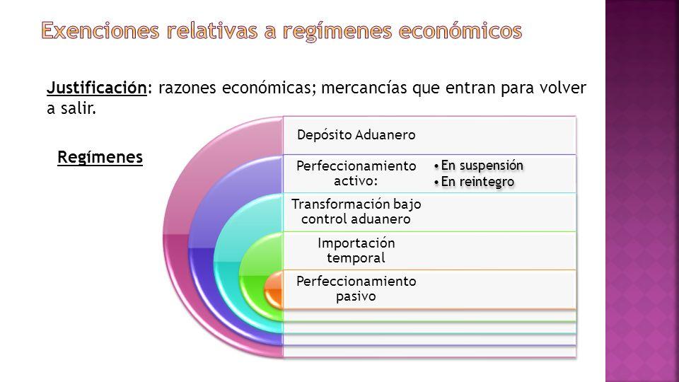 Exenciones relativas a regímenes económicos