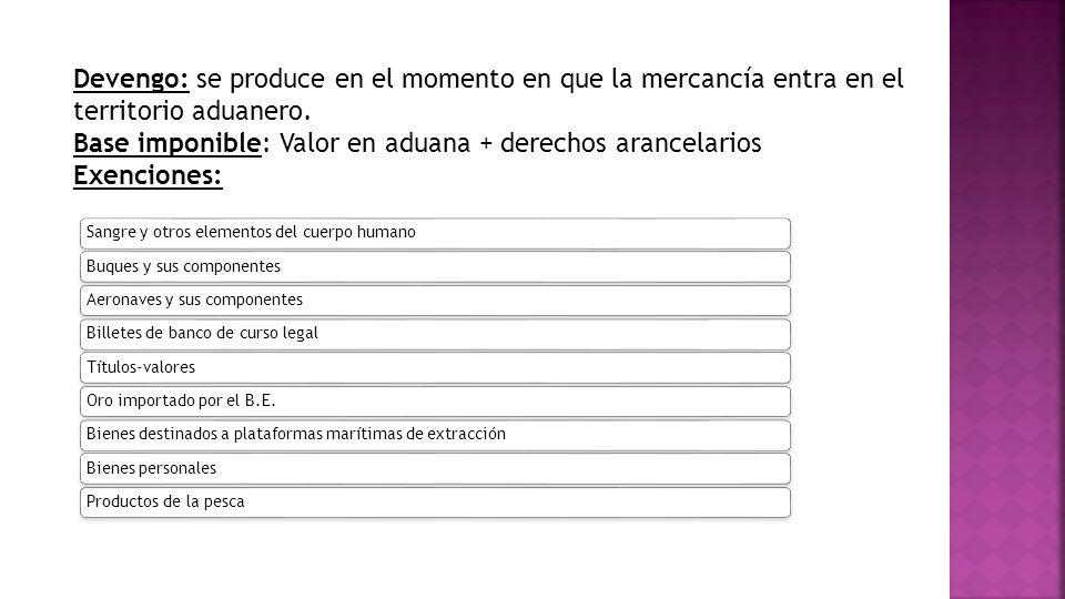 Base imponible: Valor en aduana + derechos arancelarios Exenciones: