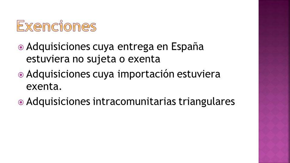 Exenciones Adquisiciones cuya entrega en España estuviera no sujeta o exenta. Adquisiciones cuya importación estuviera exenta.
