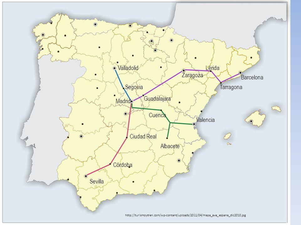 Valladolid Lérida Zaragoza Barcelona Segovia Tarragona Guadalajara