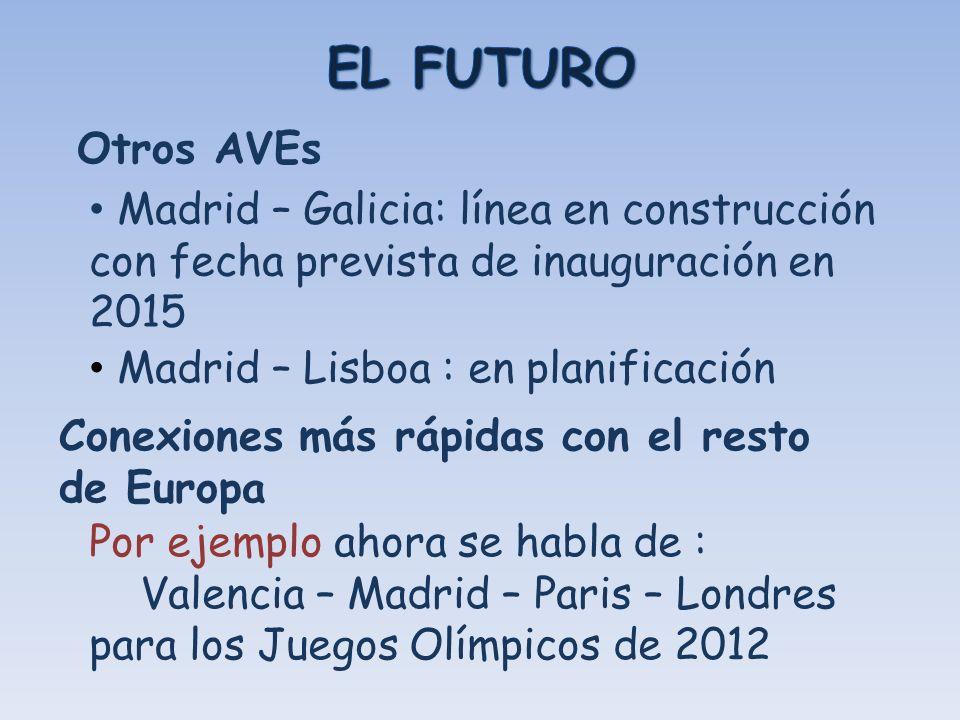 EL FUTURO Otros AVEs. Madrid – Galicia: línea en construcción con fecha prevista de inauguración en 2015.