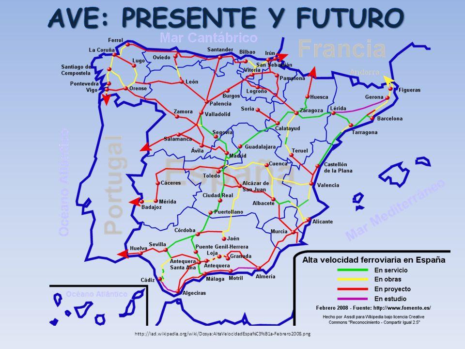 AVE: PRESENTE Y FUTURO http://lad.wikipedia.org/wiki/Dosya:AltaVelocidadEspa%C3%B1a-Febrero2008.png