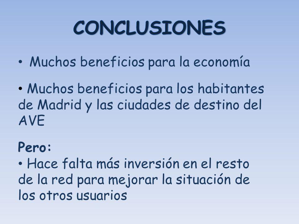 CONCLUSIONES Muchos beneficios para la economía