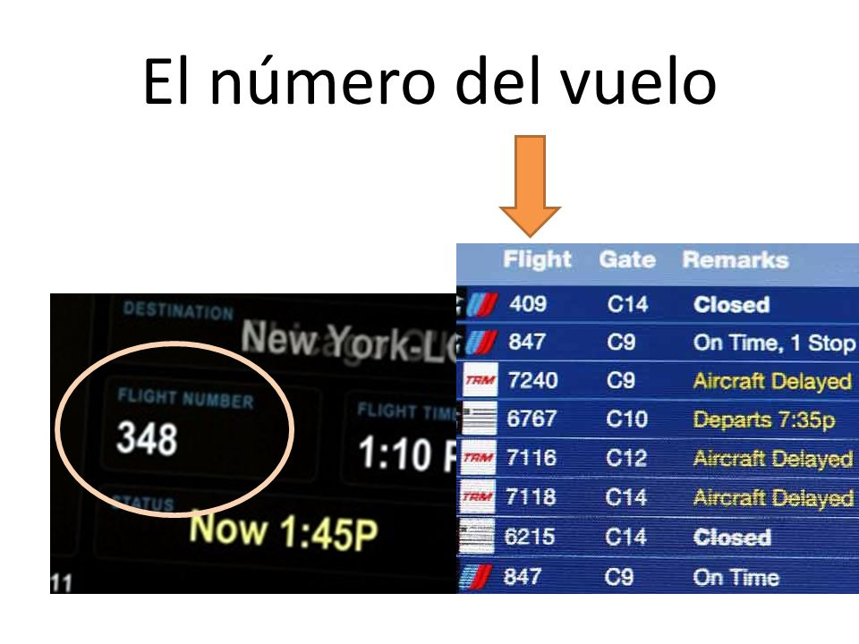 El número del vuelo