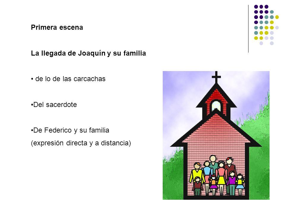 Primera escena La llegada de Joaquín y su familia. de lo de las carcachas. Del sacerdote. De Federico y su familia.
