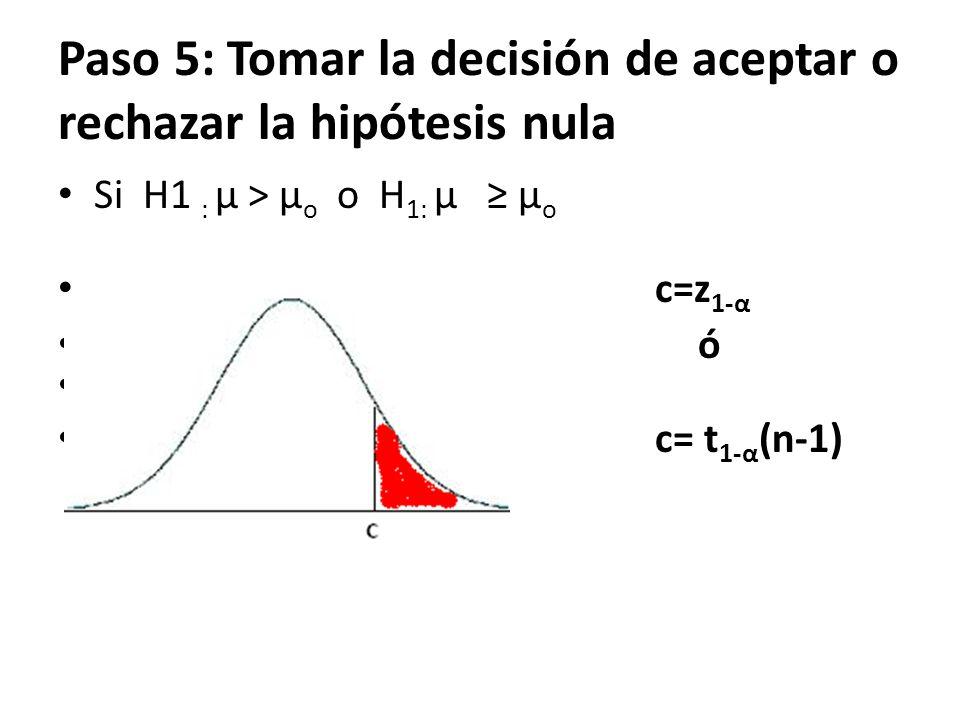 Paso 5: Tomar la decisión de aceptar o rechazar la hipótesis nula