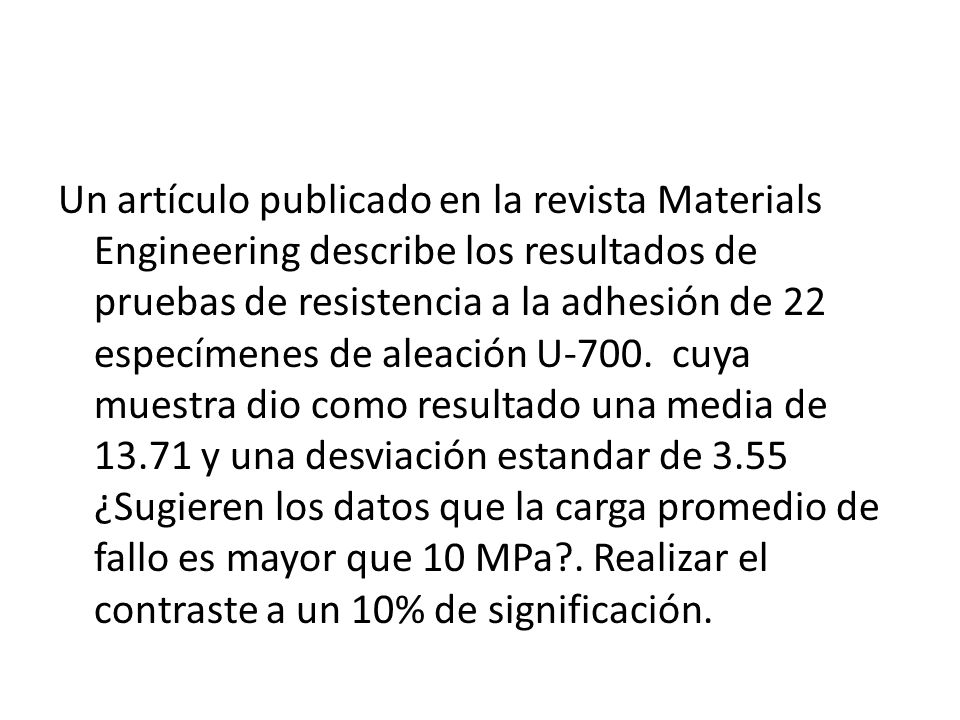 Un artículo publicado en la revista Materials Engineering describe los resultados de pruebas de resistencia a la adhesión de 22 especímenes de aleación U-700.