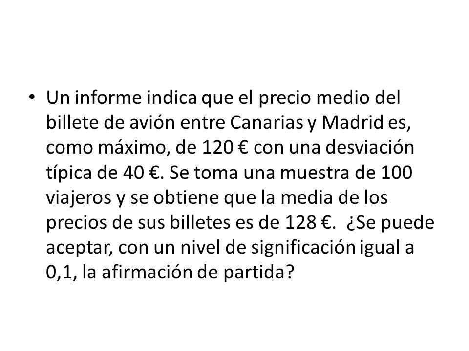 Un informe indica que el precio medio del billete de avión entre Canarias y Madrid es, como máximo, de 120 € con una desviación típica de 40 €.