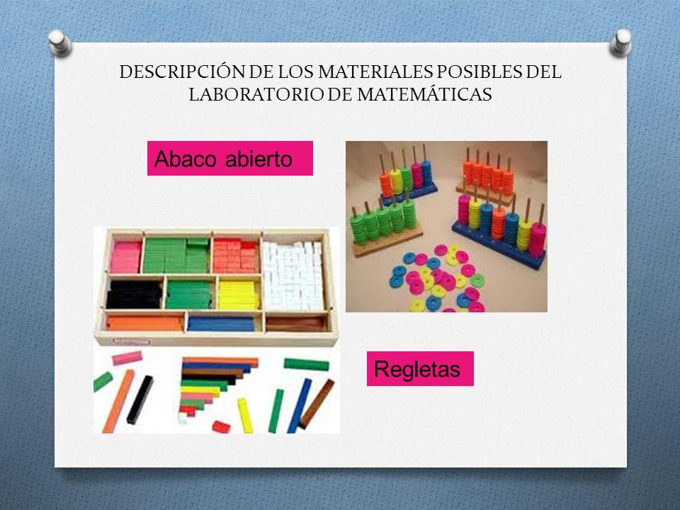 DESCRIPCIÓN DE LOS MATERIALES POSIBLES DEL LABORATORIO DE MATEMÁTICAS