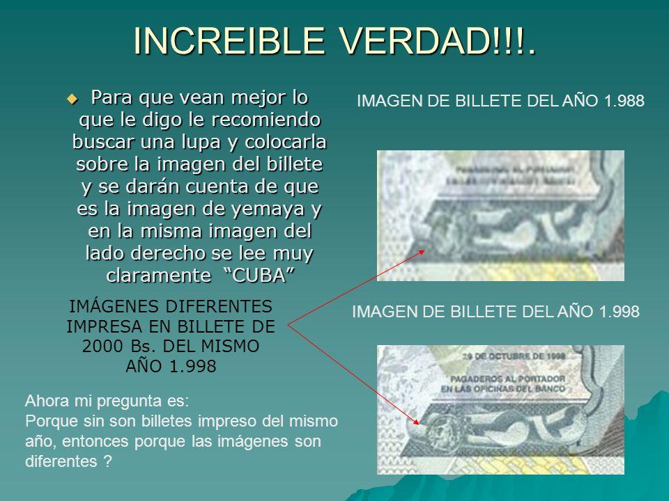 IMPRESA EN BILLETE DE 2000 Bs. DEL MISMO AÑO 1.998