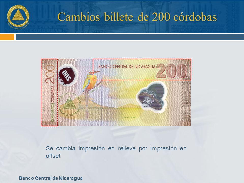 Cambios billete de 200 córdobas