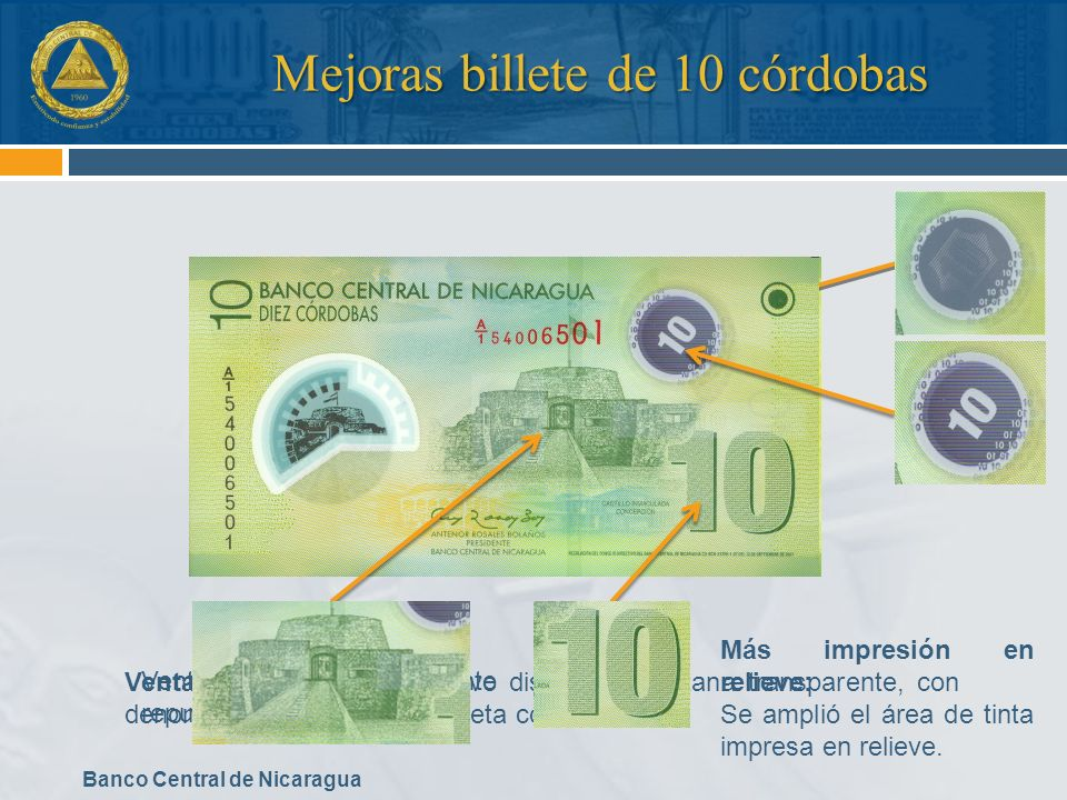 Mejoras billete de 10 córdobas