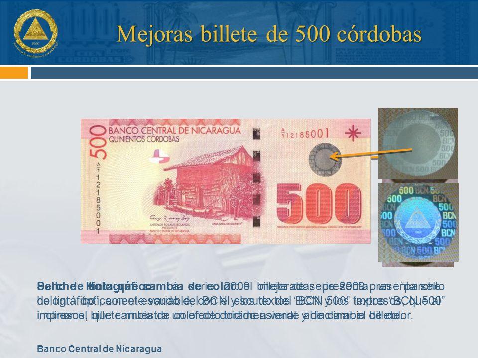 Mejoras billete de 500 córdobas