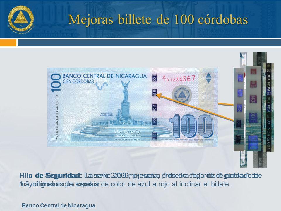 Mejoras billete de 100 córdobas
