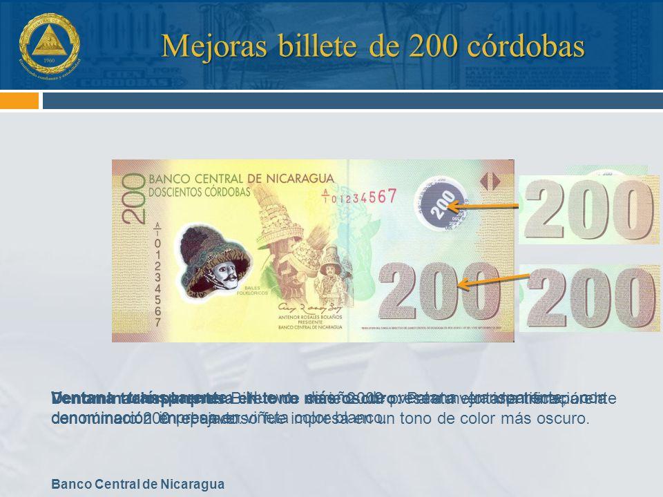 Mejoras billete de 200 córdobas