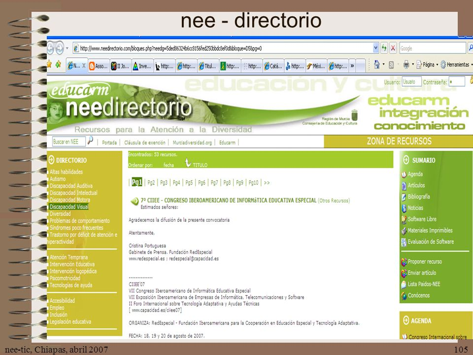 nee - directorio nee-tic, Chiapas, abril 2007