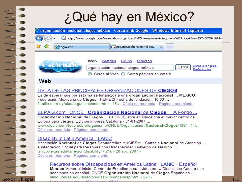 ¿Qué hay en México nee-tic, Chiapas, abril 2007
