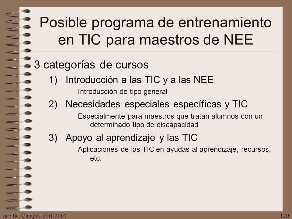 Posible programa de entrenamiento en TIC para maestros de NEE