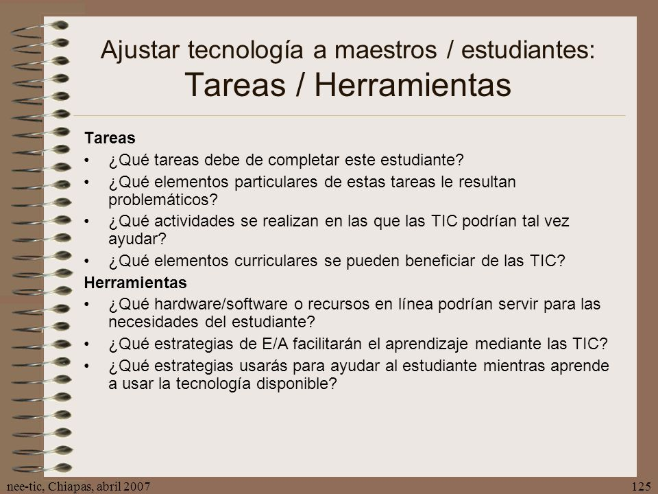 Ajustar tecnología a maestros / estudiantes: Tareas / Herramientas