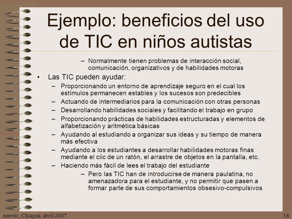 Ejemplo: beneficios del uso de TIC en niños autistas