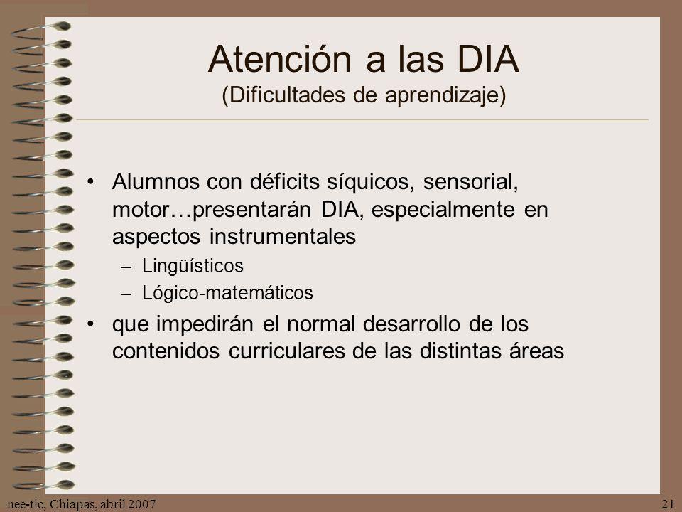 Atención a las DIA (Dificultades de aprendizaje)