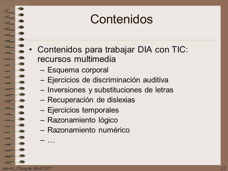 Contenidos Contenidos para trabajar DIA con TIC: recursos multimedia
