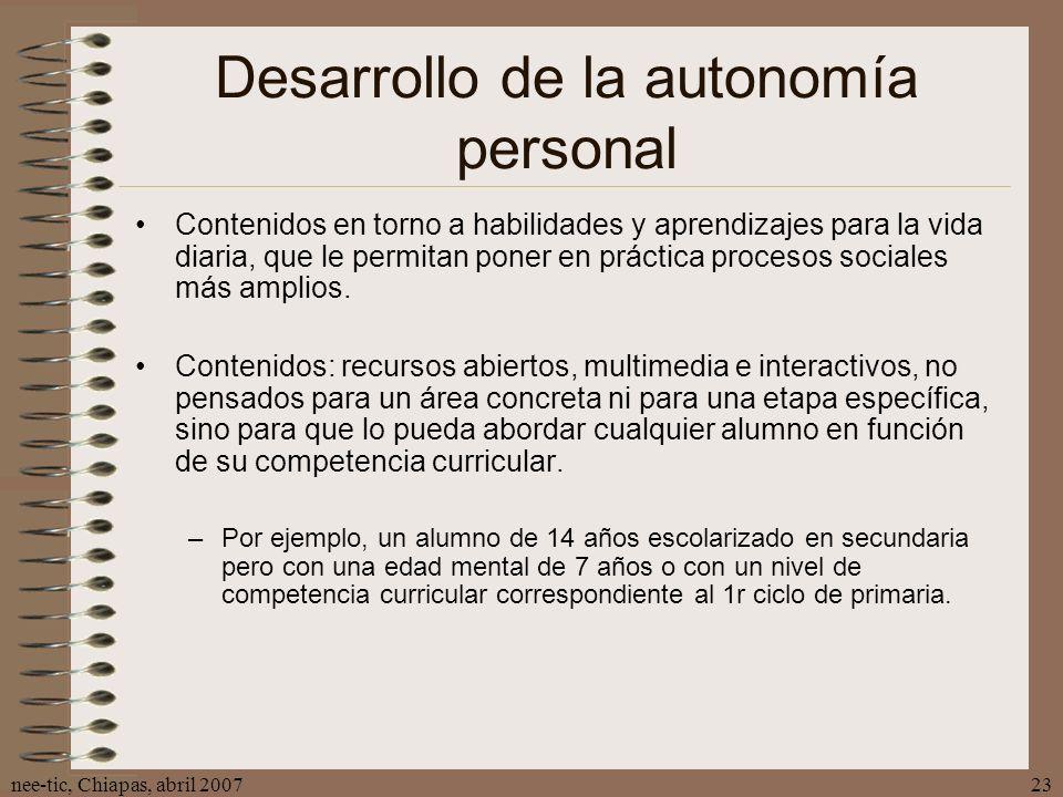 Desarrollo de la autonomía personal