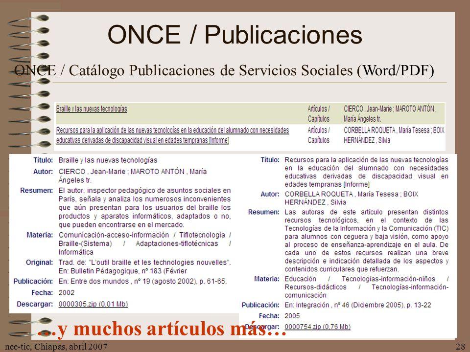 ONCE / Publicaciones …y muchos artículos más…