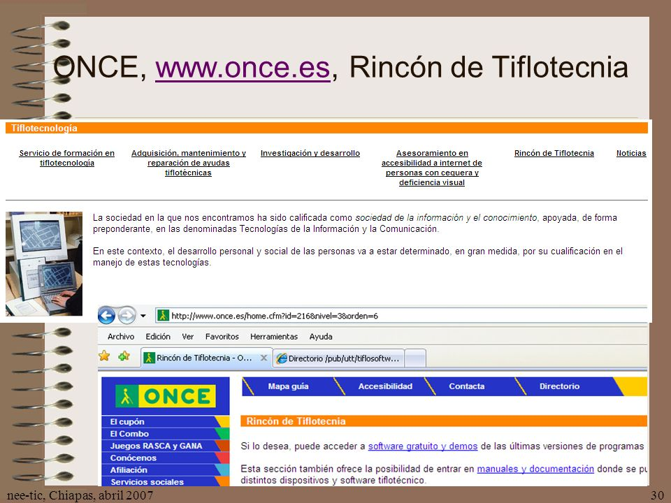 ONCE, www.once.es, Rincón de Tiflotecnia