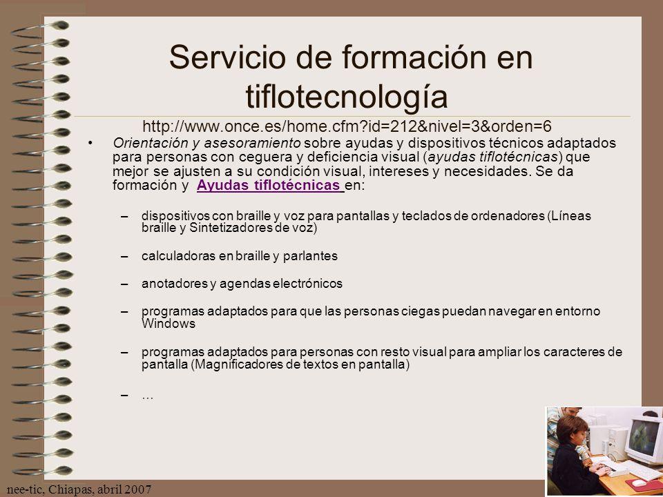 Servicio de formación en tiflotecnología http://www.once.es/home.cfm id=212&nivel=3&orden=6