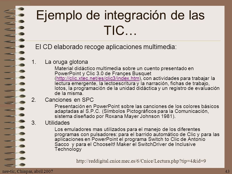 Ejemplo de integración de las TIC…