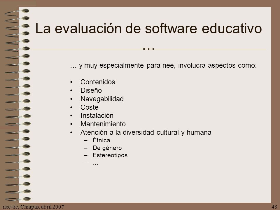 La evaluación de software educativo …
