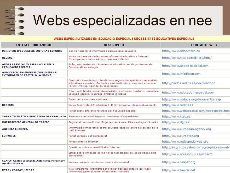 Webs especializadas en nee