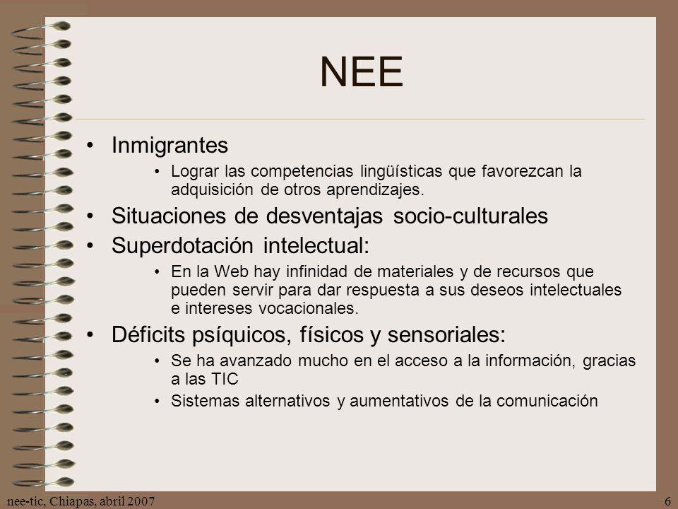 NEE Inmigrantes Situaciones de desventajas socio-culturales