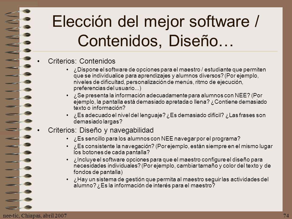 Elección del mejor software / Contenidos, Diseño…