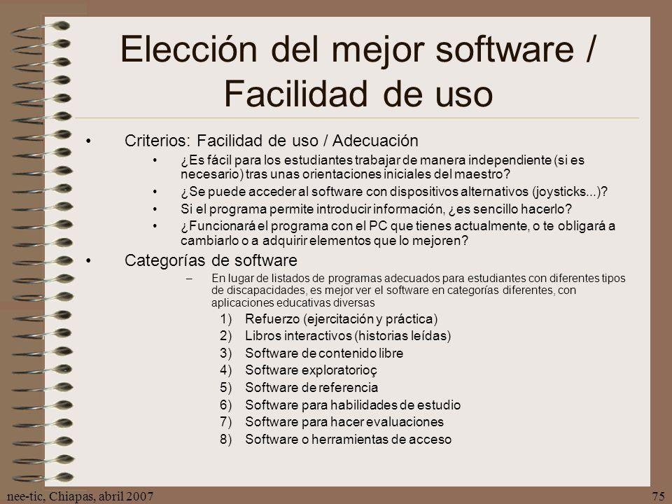 Elección del mejor software / Facilidad de uso